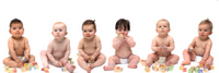 group of babies diapered