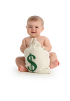 baby with money bag