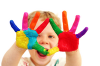 early child development with colored hands