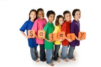 kids with safety sign