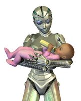robot holding baby